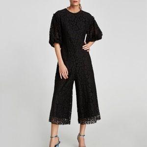 03ab82d3ab24 Zara Pants - Zara black lace culottes jumpsuit romper M